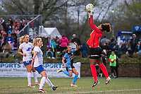 Allston, MA - Saturday, May 07, 2016: Boston Breakers midfielder Kristie Mewis (19), midfielder McCall Zerboni (77), Chicago Red Stars midfielder Vanessa DiBernardo (10) and Boston Breakers goalkeeper Abby Smith (14) during a regular season National Women's Soccer League (NWSL) match at Jordan Field.