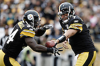 PITTSBURGH, PA - OCTOBER 16:  Ben Roethlisberger #7 of the Pittsburgh Steelers hands the ball off to teammate Rashard Mendenhall #34 during the game against the Jacksonville Jaguars on October 16, 2011 at Heinz Field in Pittsburgh, Pennsylvania.  (Photo by Jared Wickerham/Getty Images)