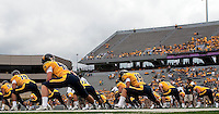 WVU pregame warmup. The WVU Mountaineers defeated the East Carolina Pirates 35-20 at Mountaineer Field at Milan Puskar Stadium, Morgantown, West Virginia on September 12, 2009.