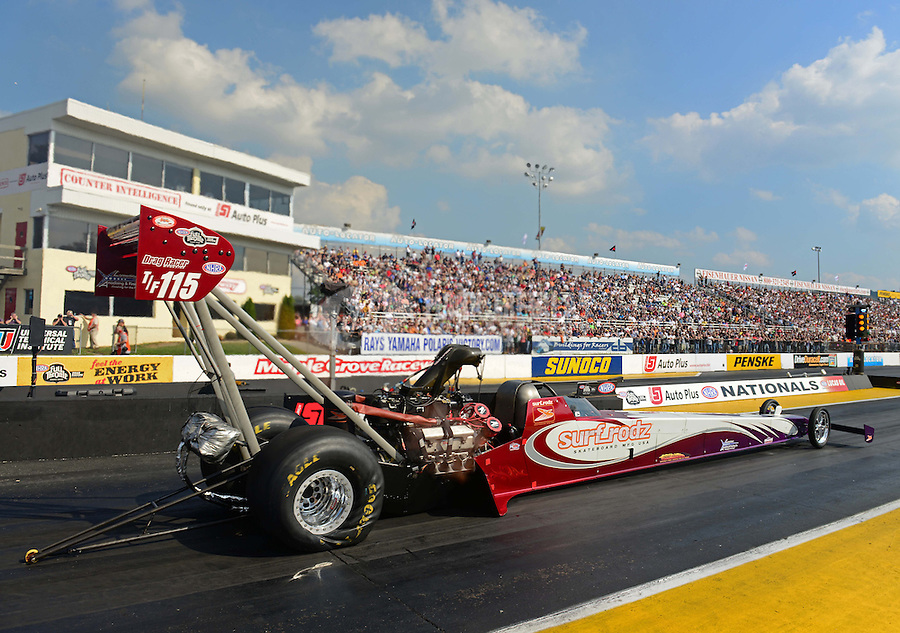 Oct. 5, 2012; Mohnton, PA, USA: NHRA top fuel dragster driver Rit Pustari during qualifying for the Auto Plus Nationals at Maple Grove Raceway. Mandatory Credit: Mark J. Rebilas-