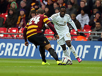 Pictured: (L-R) Nathan Doyle, Nathan Dyer. Sunday 24 February 2013<br /> Re: Capital One Cup football final, Swansea v Bradford at the Wembley Stadium in London.