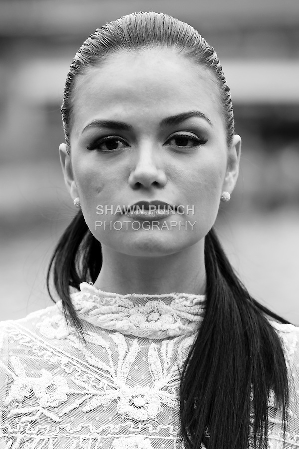 Black and white image from the Dean John Asian Invasion fashion show at South Street Seaport, August 19, 2012.
