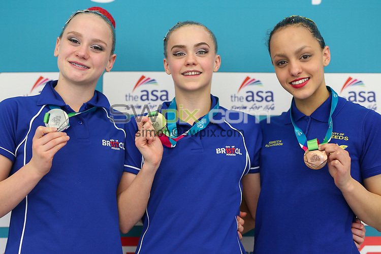 Picture by Alex Whitehead/SWpix.com - 22/04/2017 - ASA National Synchronised Swimming Championships 2017, Day 1 - Harvey Hadden Sports Village, Nottingham, England - Junior Figures.<br /> Gold - Kate Shortman (City of Bristol)<br /> Silver - Isabelle Thorpe (City of Bristol)<br /> Bronze - Rebecca Richardson (City of Leeds)