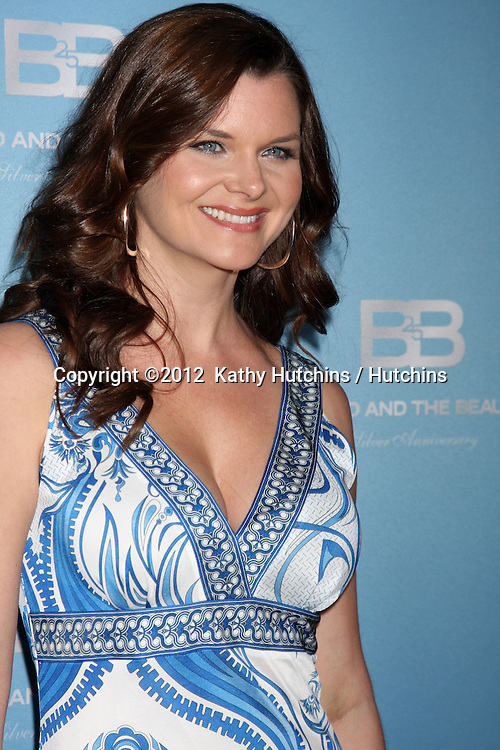 LOS ANGELES - MAR 10:  Heather Tom arrives at the Bold and Beautiful 25th Anniversary Party at the Perch Resturant on March 10, 2012 in Los Angeles, CA
