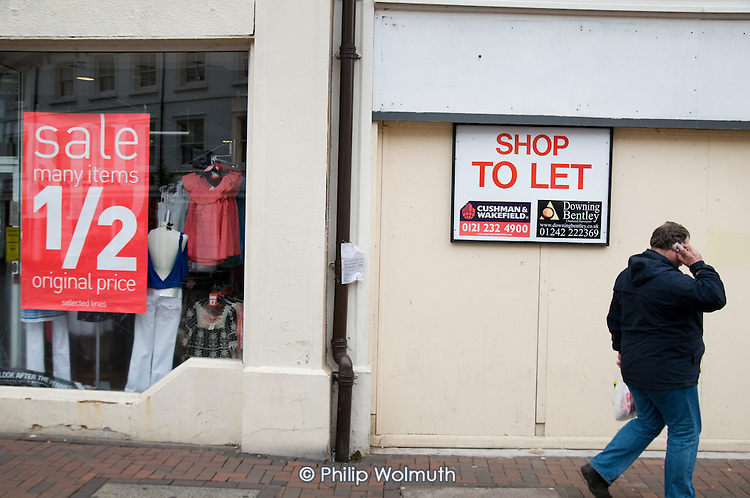 Closed shops in the centre of Hereford.  The market town has been badly hit by the economic crisis.