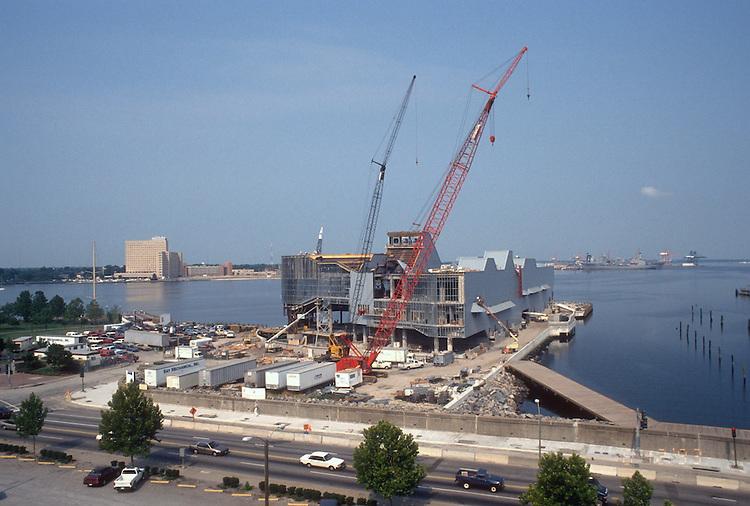 1993 August 12..Redevelopment.Downtown West (A-1-6)..NAUTICUS.CONSTRUCTION PROGRESS.LOOKING WEST FROM WORLD TRADE CENTER GARAGE....NEG#.NRHA#..