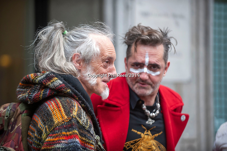 Ben Westwood (left) at the Extinction Rebellion 'Carn-evil of Chaos' Fashion Parade at the Brazillian Embassy to show solidarity with the people of Brazil and their eco system. Pic by Lisa Dawson Rees