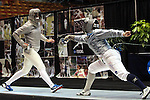 23 MAR 2012:  Rebecca Ward, right, of Duke fences against Monica Aksamit of Penn State in the saber competition of the Division I Women's Fencing Championship held at St. John Arena on the Ohio State University campus in Columbus, OH. Ward defeated Aksamit 15-12 to claim the national title.  Jay LaPrete/ NCAA Photos