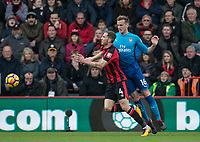 Rob Holding of Arsenal & Dan Gosling of AFC Bournemouth during the Premier League match between Bournemouth and Arsenal at the Goldsands Stadium, Bournemouth, England on 14 January 2018. Photo by Andy Rowland.