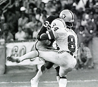 Raider's Jack Tatum hits Patriots receiver Darryl Stingley in 1978 pre-season game in Oakland..photo copyright 1978 Ron Riesterer/Oakland Tribune