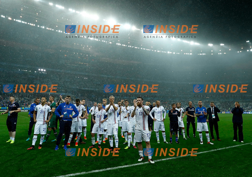The delusion of Iceland players at the end of the match. delusione fine partita<br /> Paris 03-07-2016 Stade de France Football Euro2016 France - Iceland / Francia - Islanda Quarter finals <br /> Foto Matteo Ciambelli / Insidefoto