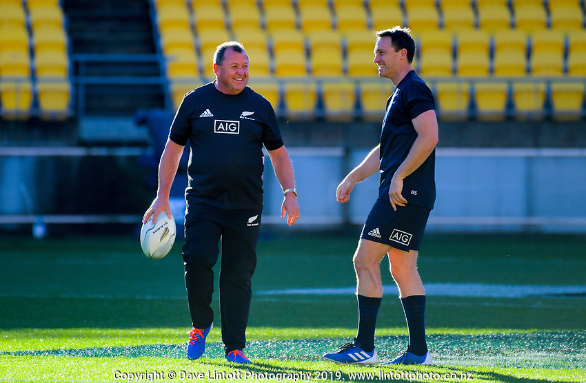 All Blacks assistant coach Ian Foster chats with Ben Smith during the Rugby Championship New Zealand All Blacks captain's run training session at Westpac Stadium in Wellington, New Zealand on Friday, 26 July 2019. Photo: Dave Lintott / lintottphoto.co.nz
