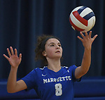 Marquette's Ellie Jacobs tosses the ball up to serve. Jerseyville played at Alton Marquette in a girls volleyball game on Wednesday September 11, 2018.<br /> Tim Vizer/Special to STLhighschoolsports.com