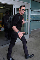 www.acepixs.com<br /> <br /> February 23 2017, New York City<br /> <br /> Actor Hugh Jackman wears a flesh-colored bandage on his nose as he passes through JFK Airport on February 23 2017 in New York City<br /> <br /> By Line: Curtis Means/ACE Pictures<br /> <br /> <br /> ACE Pictures Inc<br /> Tel: 6467670430<br /> Email: info@acepixs.com<br /> www.acepixs.com