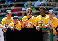 May 31, 2010; Grand Junction, CO, USA; Southern Nevada Coyotes catcher Bryce Harper (center) cheers on a teammate against the Faulkner State Sun Chiefs during the Junior College World Series as Suplizio Field. Southern Nevada won the game 18-1. Mandatory Credit: Mark J. Rebilas-