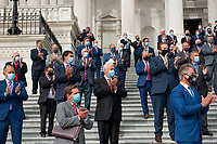 """GOP members of Congress listen as United States House Minority Leader Kevin McCarthy (Republican of California), and US House Minority Whip Steve Scalise (Republican of Louisiana), and hold a press conference regarding the """"Commitment to America: to restore our way of life, rebuild the greatest economy, and renew the American dream"""" on the House Steps at the US Capitol in Washington, DC., Tuesday, September 15, 2020. <br /> Credit: Rod Lamkey / CNP /MediaPunch"""
