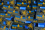OCEANSIDE, CA - APRIL 7:  General view of medals during the IRONMAN 70.3 Oceanside Triathlon on April 7, 2018 in Oceanside, California. (Photo by Donald Miralle for IRONMAN)