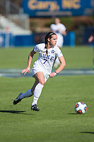 Cary, North Carolina - Sunday December 6, 2015: Taylor Racioppi (7) of the Duke Blue Devils pushes the ball up the field during first half action against the Penn State Nittany Lions at the 2015 NCAA Women's College Cup at WakeMed Soccer Park.  The Nittany Lions defeated the Blue Devils 1-0.