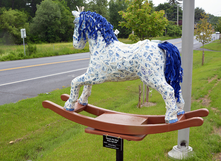 "A view of ""Dinah- The Blue Plate Special"" created by artist, Donna Dittus, one of the ""Rockin' Around Saugerties"" theme Statues on display throughout the Village of Saugerties, NY, on Sunday, June 4, 2017. Photo by Jim Peppler. Copyright/Jim Peppler-2017."