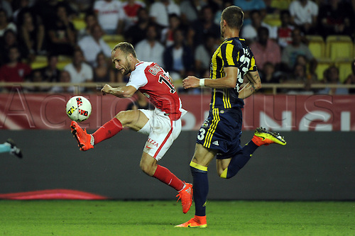 03.08.2016. Monaco, France. UEFA Champions league qualifying round, AS Monaco versus Fenerbahce.  Germain (mon) takes down the high pass under pressure from Hasan Ali Kaldırım (fen)