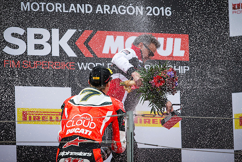 03.04.2016. Motorland, Aragon, Spain, World Championship Motul FIM of Superbikes. Chaz Davies #7, Ducati 1199 Panigale R rider of Superbike celebrates after the Race  in the World Championship Motul FIM of Superbikes from the Circuito de Motorland.