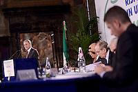 Roma, 28 Ottobre 2015<br /> Pier Carlo Padoan, ministro dell'economia, Antonio Patuelli, Presidente ABI, Giuseppe Guzzetti, presidente Acri, Ignazio Visco, governatore della Banca d'Italia.<br /> Celebrata presso il Palazzo della Cancelleria la 90° Giornata mondiale del Risparmio.