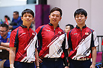 (L-R)  Shota Koki,  Daisuke Yoshida, Takuya Miyazawa (JPN), <br /> AUGUST 23, 2018 - Bowling : <br /> Men's Trios Block 2 <br /> at Jakabaring Sport Center Bowling Center <br /> during the 2018 Jakarta Palembang Asian Games <br /> in Palembang, Indonesia. <br /> (Photo by Yohei Osada/AFLO SPORT)
