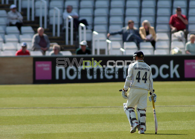 PICTURE BY VAUGHN RIDLEY/SWPIX.COM -  Cricket - Liverpool Victoria County Championship Division One- Riverside, Chester-le-Street, County Durham - 10/05/06...? Simon Wilkinson - 07811 267706...Durham's Dale Benkenstein trudges back to the clubhouse after being caught by Hutton, bowled by Betts for 19.