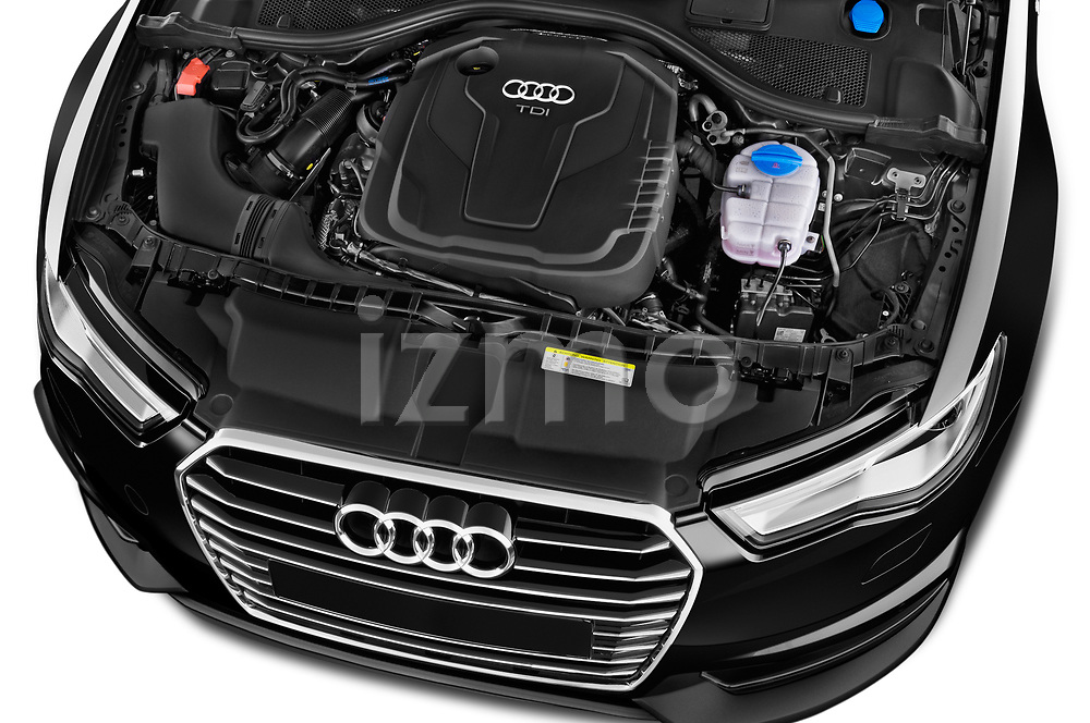 Car stock 2018 Audi A6 Avant S Line Select Doors Door Wagon engine high angle detail view