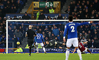26th December 2019; Goodison Park, Liverpool, Merseyside, England; English Premier League Football, Everton versus Burnley; Burnley goalkeeper Nick Pope is unable to prevent the header of Dominic Calvert-Lewin of Everton going in off his far post - Strictly Editorial Use Only. No use with unauthorized audio, video, data, fixture lists, club/league logos or 'live' services. Online in-match use limited to 120 images, no video emulation. No use in betting, games or single club/league/player publications