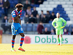Inverness Caley v St Johnstone&hellip;08.04.17     SPFL    Tulloch Stadium<br />Larnell Cole trudges off sfter seeing red<br />Picture by Graeme Hart.<br />Copyright Perthshire Picture Agency<br />Tel: 01738 623350  Mobile: 07990 594431