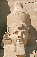 The Temple of Ramses II at Abu Simbel, built by that most powerful of the Pharoahs between 1272 and 1242 BC, is fronted by four massive colossi of himself. This is the head on one of them. When Lake Nasser was formed by the building of the Aswan Dam, this temple would have been flooded in its original location and so it was cut into 2,000 huge blocks and reconstructed at a spot 656 feet inland and 212 feet higher than the original site.