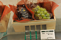 Japanese grapes sell for sell for 7350 yen for two small bunches, approximately 35 pounds sterling in the Isetan epartment Store in Central Tokyo, Japan. September 1st, 2008.<br />