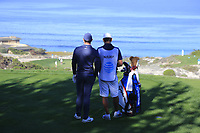 Rory McIlroy (NIR) and caddy Harry Diamond on the 3rd tee at Spyglass Hill during Thursday's Round 1 of the 2018 AT&amp;T Pebble Beach Pro-Am, held over 3 courses Pebble Beach, Spyglass Hill and Monterey, California, USA. 8th February 2018.<br /> Picture: Eoin Clarke | Golffile<br /> <br /> <br /> All photos usage must carry mandatory copyright credit (&copy; Golffile | Eoin Clarke)