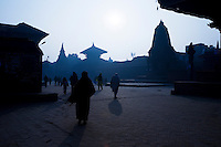 Bhaktapur Durbar Square at Dawn - the workmanship of the temples here rivals those of Kathmandu and Patan. Durbar Square has a large open brick paved area in the centre surrounded by temples arranged in a harmonious layout for which UNESCO named Bhaktapur Durbar Square a World Heritage Site.