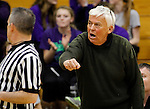 LEAD, SD - FEBRUARY 21, 2014:  Custer High School Boys basketball coach Larry Luitjens calls a timeout during a game with Lead-Deadwood Friday February 21, 2014 in Lead, S.D.  Luitjens is retiring after more than 40 years coaching.  (Photo by Dick Carlson/Inertia)
