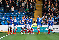 Gareth Evans of Portsmouth celebrates his leveller during the FA Cup 1st round match between Portsmouth and Wycombe Wanderers at Fratton Park, Portsmouth, England on the 5th November 2016. Photo by Liam McAvoy.