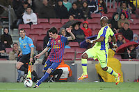 10.04.2012 Bacelona, Spain. La Liga. Picture show Isaac Cuenca in action during match between FC Barcelona against Getafe at Camp Nou