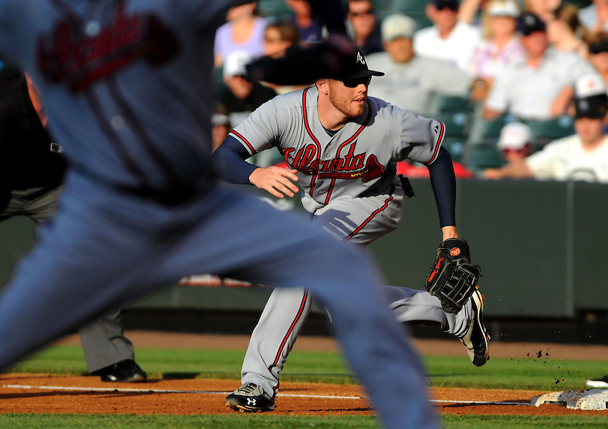 18 JULY 2011: Atlanta Braves first baseman Freddie Freeman (5) during a regular season game between the Atlanta Braves and the Colorado Rockies at Coors Field in Denver, Colorado. The Braves beat the Rockies 7-4. *****For Editorial Use Only*****