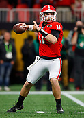 January 8th 2018, Atlanta, GA, USA; Georgia Bulldogs quarterback Jake Fromm (11) drops back to pass during the College Football Playoff National Championship Game between the Alabama Crimson Tide and the Georgia Bulldogs on January 8, 2018 at Mercedes-Benz Stadium in Atlanta, GA.
