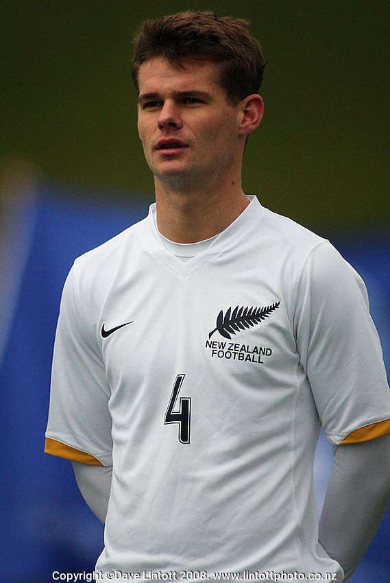 Cole Peverley during the international football friendly between the NZ Oly-Whites and Chile Under-23 at Newtown Park, Wellington, New Zealand on Wednesday 3 July 2008. Photo: Dave Lintott / lintottphoto.co.nz