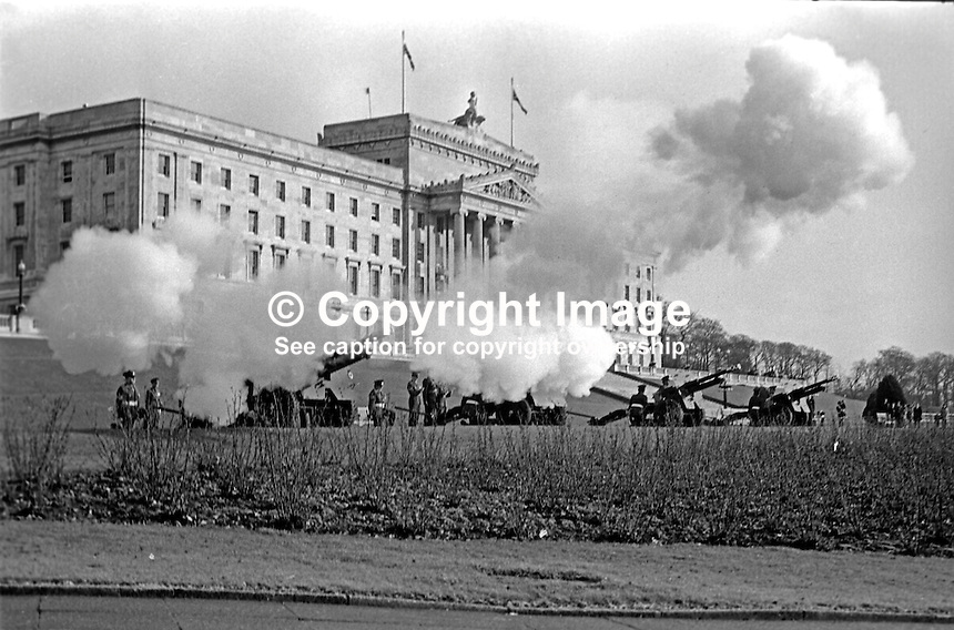 The anniversary of the accession of Queen Elizabeth II is marked by a 21 gun salute at Parliament Buildings, Stormont, Belfast, N Ireland, 6th February 1974. 197402060058e<br />