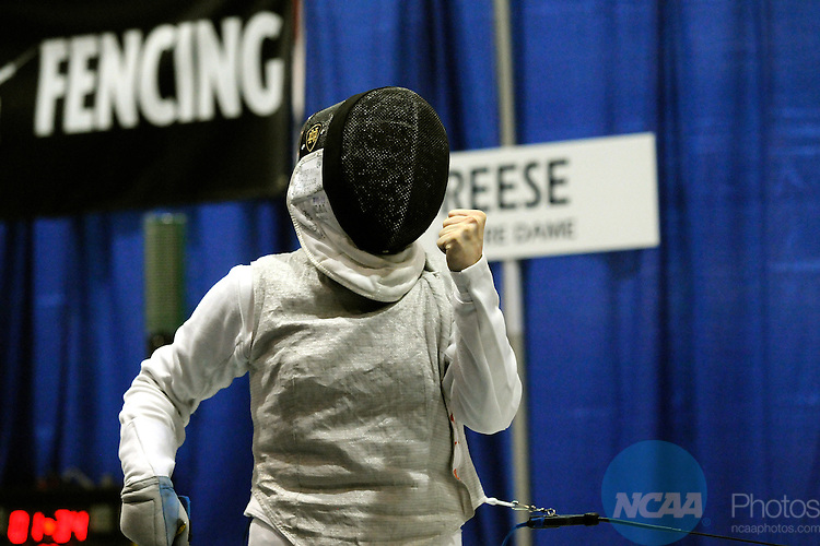 22 MARCH 2009: Hayley Reese of The University of Notre Dame celebrates a point against Doris Willette of The Pennsylvania State University during the Division I Women's Fencing Championship in the weapon of Foil held at the Multi-Sport Facility on the Penn State University campus in University Park, PA.  Willette defeated Reese for a 15-5 victory.  Steve Manuel/NCAA Photos