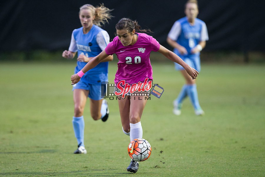 Kahla Seymour (20) of the Wake Forest Demon Deacons pushes the ball up the field during second half action against the North Carolina Tar Heels at Spry Soccer Stadium on September 27, 2015 in Winston-Salem, North Carolina.  The Tar Heels defeated the Demon Deacons 1-0.  (Brian Westerholt/Sports On Film)