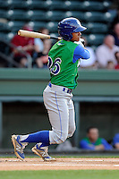 Center fielder Alfredo Escalera-Maldonado (26) of the Lexington Legends bats in a game against the Greenville Drive on Thursday, April 24, 2014, at Fluor Field at the West End in Greenville, South Carolina. Greenville won, 9-4. (Tom Priddy/Four Seam Images)