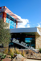 Sun City Library, Sun City, CA. Opened in 2010. Signage. Audrey Stratton, Architect.