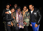 "James Harkness, Jeremy Pope, Jawan M. Jackson, Danielle Brooks, Ephraim Sykes and Derrick Baskin backstage after a performance of ""Ain't Too Proud"" at the Imperial Theatre on April 11, 2019 in New York City."