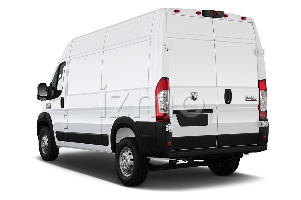 Car pictures of rear three quarter view of a 2019 Ram Promaster Base 3 Door Cargo Van angular rear