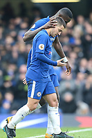 Eden Hazard of Chelsea celebrates with Antonio Rudiger of Chelsea after he scores his team's third goal of the game to make the score 3-1 during the Premier League match between Chelsea and Newcastle United at Stamford Bridge, London, England on 2 December 2017. Photo by David Horn.