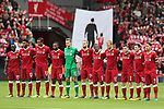 Liverpool's players pay their respects to the terrorist attack victims in Barcelona during the premier league match at the Anfield Stadium, Liverpool. Picture date 19th August 2017. Picture credit should read: David Klein/Sportimage